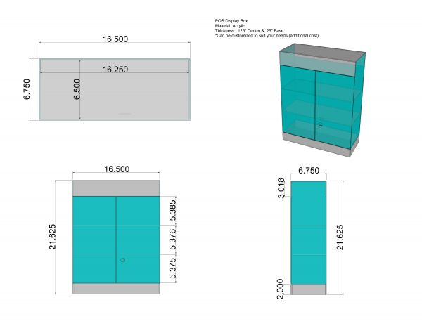 POS Display Case Dimensions