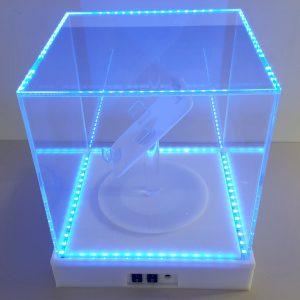 12x 12 x12 acrylic box with LED and motorized turntable (2)