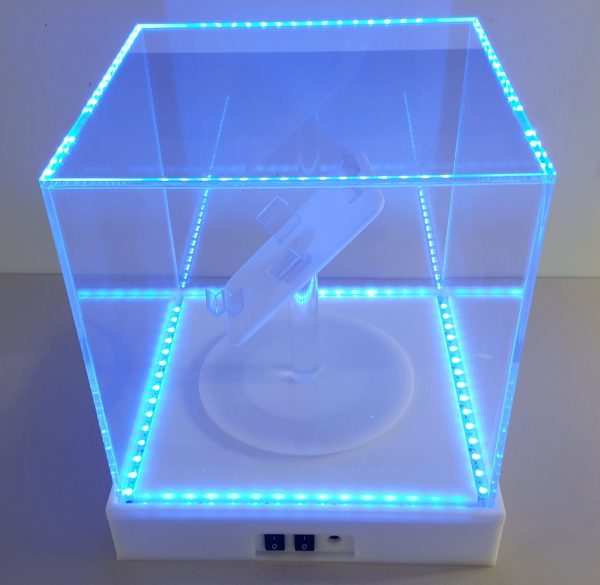 12x 12 x12 acrylic box with LED and motorized turntable (2)