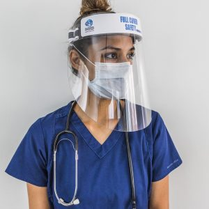 Full Cover Safety Face Shield Mask Premium PPE Ear Saver Reusable PETG Clear Plexi Faceshield Covid 19 virus Mask Eye Protection Made in USA,PPE, Protective Equipment, Pandemic, covid, covid 19, corona, healthcare, school, business, sneezeguard, barrier, salon,Acrylic, Plexi, Plastic, Plexiglass, Lucite, Glass, Poly Carbonate, PETG