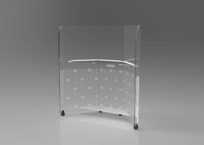 Acrylic Desk Built in Barrier